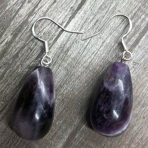 Jewelry - Dream amethyst crystal tear drop earrings 925